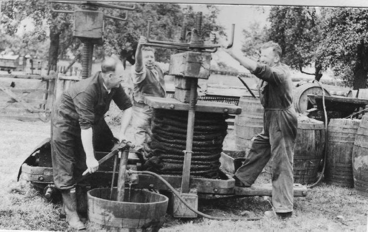 Early 20th century cider press operation in the UK