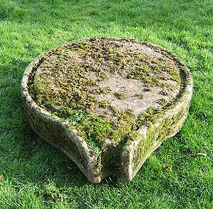 Teardrop shaped cider press stone base from the UK