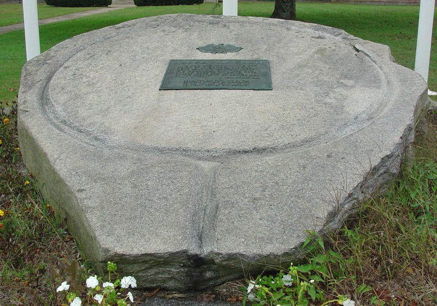 Teardrop shaped cider press stone base Glocester, RI