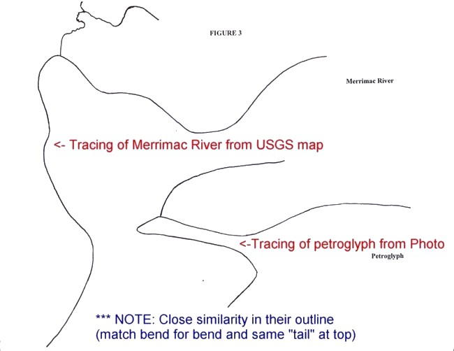 America's Stonehenge - Tracing of Petroglyph & USGS Map compared