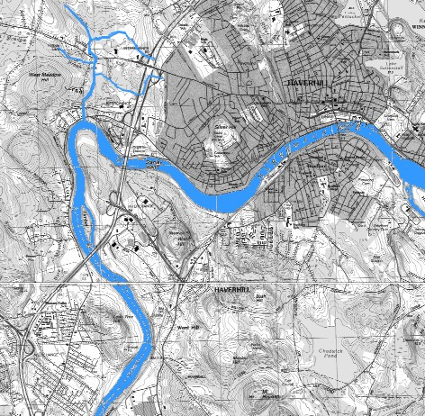USGS Map showing Merrimack River near Haverhill MA