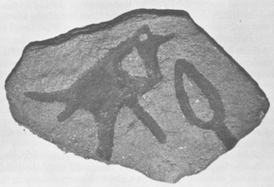 America's Stonehenge - Native American Petroglyph - spear Point Bird Image